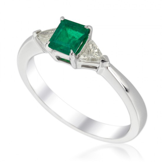 0.80 Carat Diamond and Emerald Ring in 18K White Gold