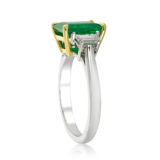 2.89 Carat Diamond and Natural Colombian Emerald Ring