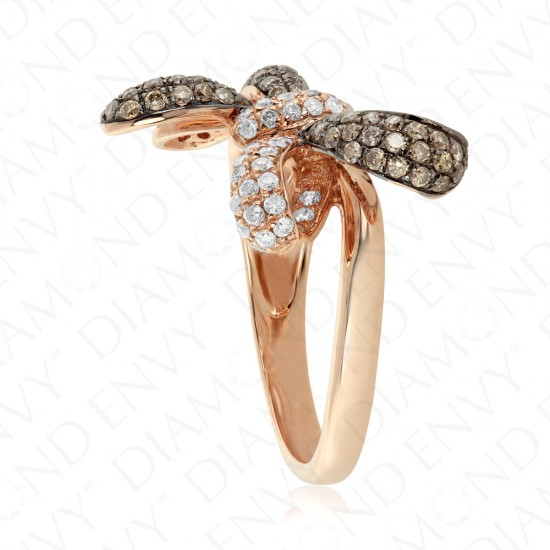 0.96 Carat Brown Diamond Ring in 14K Rose Gold