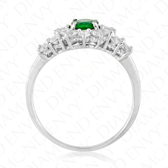 1.73 Carat Natural Emerald and Diamond Ring in 18K White Gold