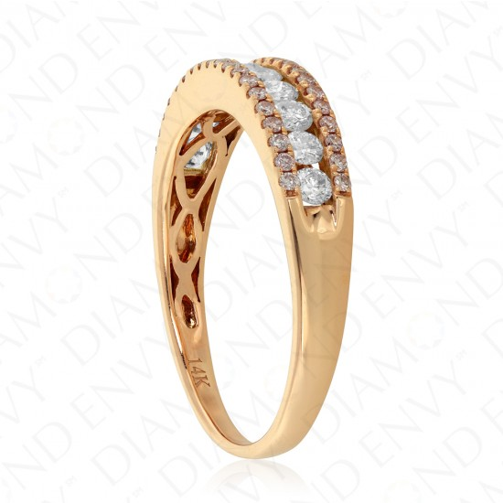 0.60 Carat Fancy Pink Diamond Ring in 14K Rose Gold