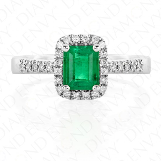 0.98 Carat Diamond and Natural Emerald Ring in 18K White Gold