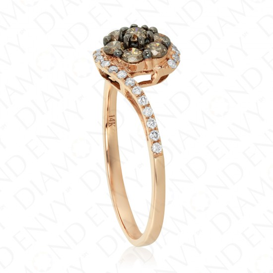 0.55 Carat Brown Diamond Ring in 14K Two-Tone Gold