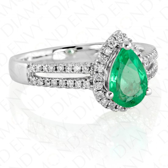 1.16 Carat Diamond and Natural Emerald Ring in 18K White Gold