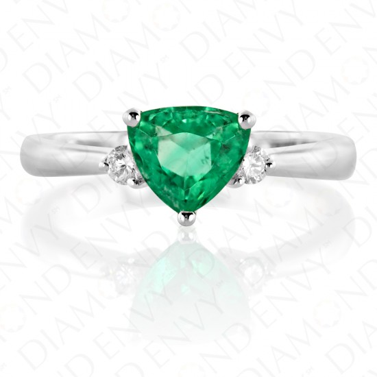 1.08 Carat Diamond and Natural Emerald Ring in 18K White Gold