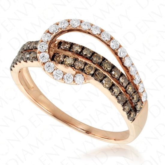 0.70 Carat Brown Diamond Ring in 14K Rose Gold