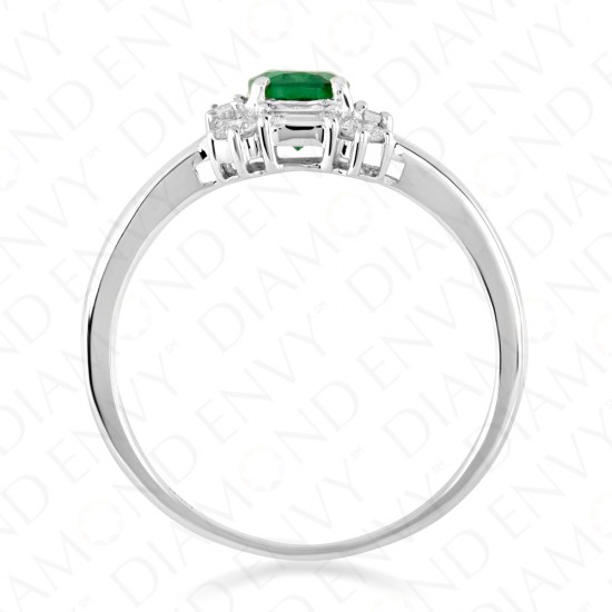 1.21 Carat Diamond and Natural Emerald Ring in 18K White Gold