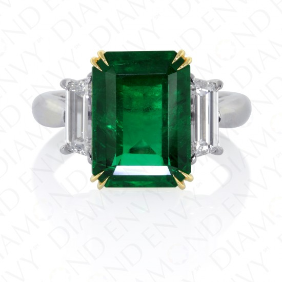 5.93 Carat Diamond and Natural Emerald Ring in 18K Two Tone Gold