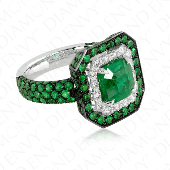 3.39 Carat Natural Emerald and Diamond Ring in 18K Black Gold and Platinum
