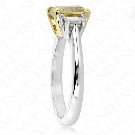 2.36 Carat Fancy Deep Brownish Yellow Diamond Ring in 18K Two-Tone Gold