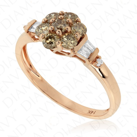 0.72 Carat Brown Diamond Ring in 14K Rose Gold