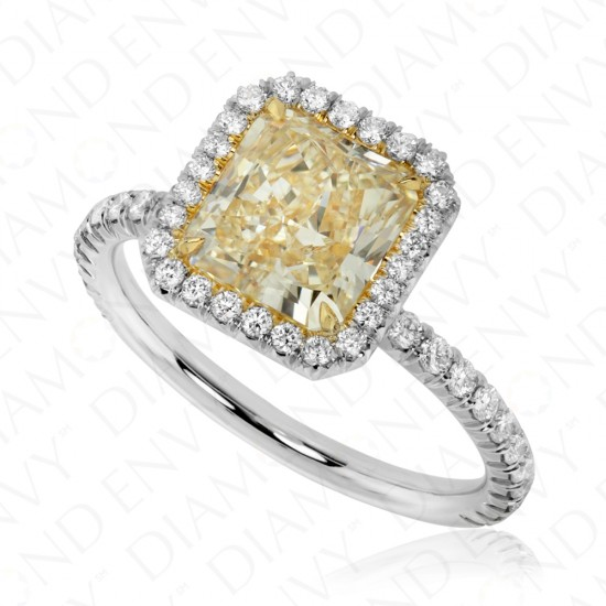 2.53 Carat Yellow Diamond Ring in Platinum and 18K White Gold