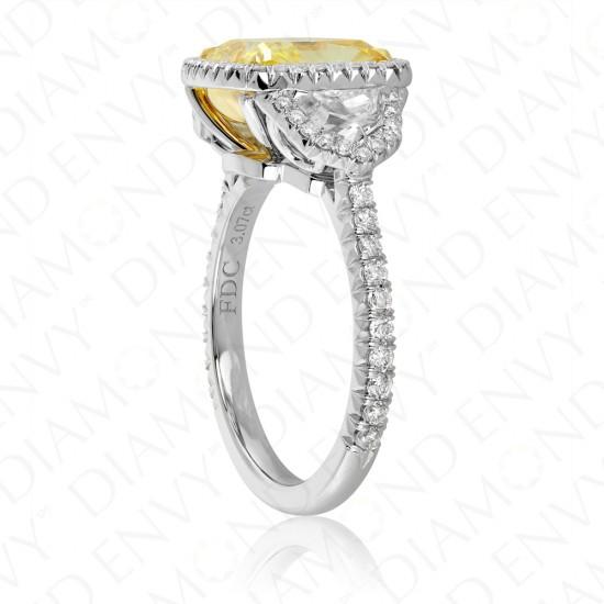 4.08 Carat Fancy Intense Yellow Diamond Ring in Platinum and 18K White Gold