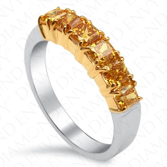 1.63 Carat Fancy Deep Yellow Diamond Band in 18K Two-Tone Gold