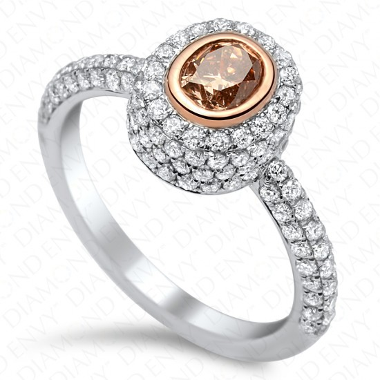 1.39 Carat Fancy Pink-Brown Diamond Ring in 18K White & Rose Gold