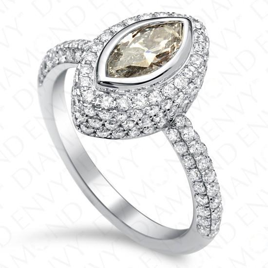 1.63 Carat Fancy Light Greyish Blue Diamond Ring in 18K White Gold