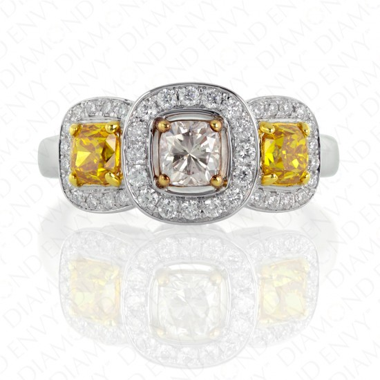 1.61 Carat Fancy Colored Diamond Ring in 18K Three-Toned Gold