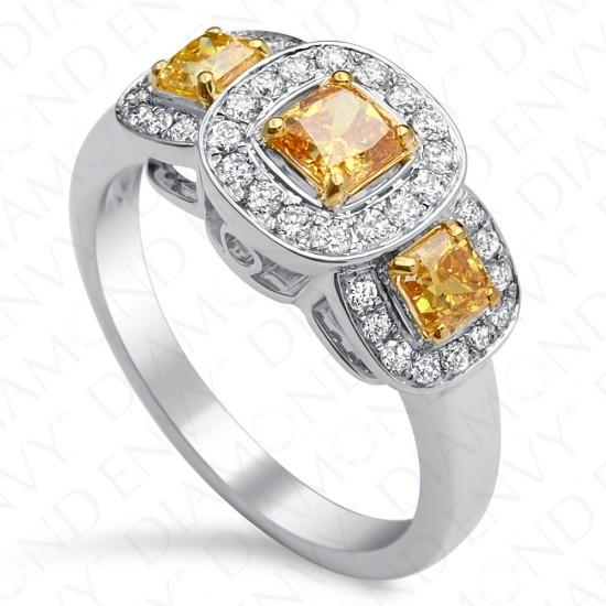 1.29 Carat Three-Stone Fancy Vivid Brownish Yellow Diamond Ring