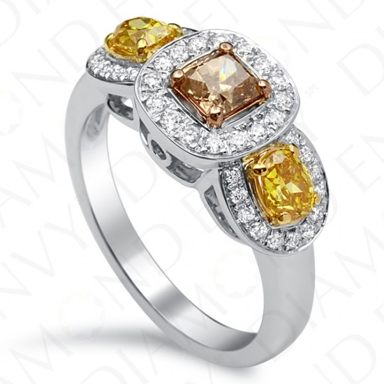 1.31 Carat Fancy Colored Diamond Ring in 18K Two-Tone Gold