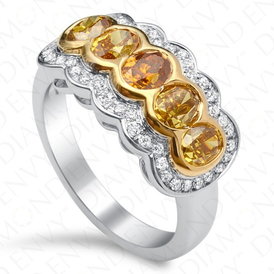 2.00 Carat Fancy Colored Diamond Ring in 18K Two-Tone Gold