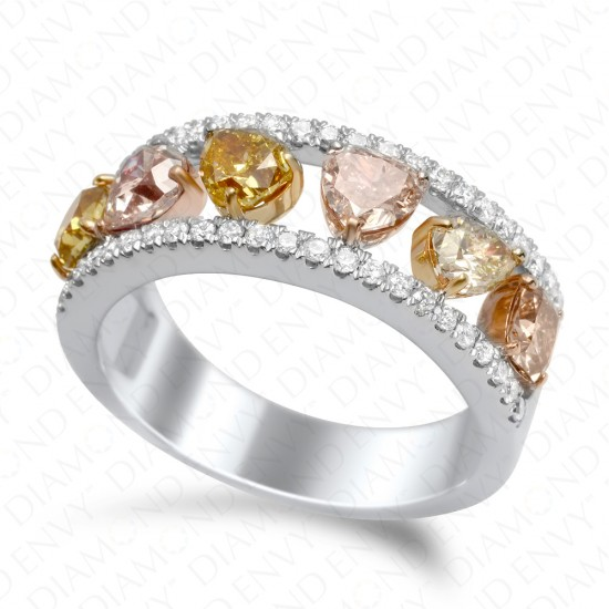 1.75 Carat Multi-Colored Diamond Ring in 18K Two-Tone Gold