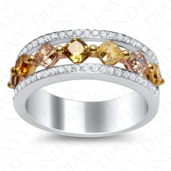 1.63 Carat Fancy Multi-Colored Diamond Ring in 18K Two-Tone Gold