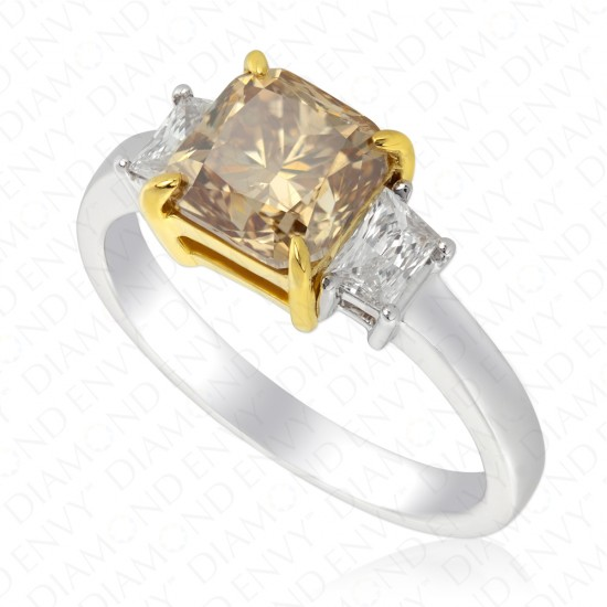 2.45 Carat Fancy Yellowish Brown Diamond Ring in 18K Two-Tone Gold