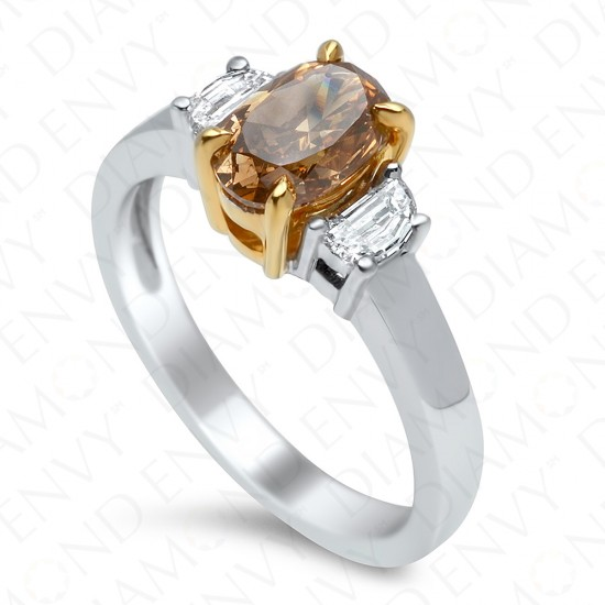 1.43 Carat Fancy Deep Brown-Orange Diamond Ring in 18K Two-Tone Gold