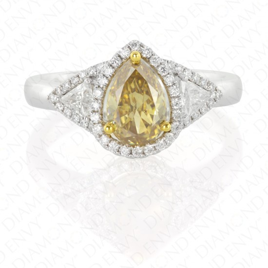 1.67 Carat Fancy Deep Brownish Yellow Diamond Ring in 18K Two-Tone Gold