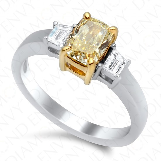 1.28 Carat Fancy Light Yellow Diamond Ring in 18K Two-Tone Gold