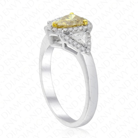 1.43 Carat Fancy Deep Brownish Greenish Yellow Diamond Ring in 18K Two-Tone Gold