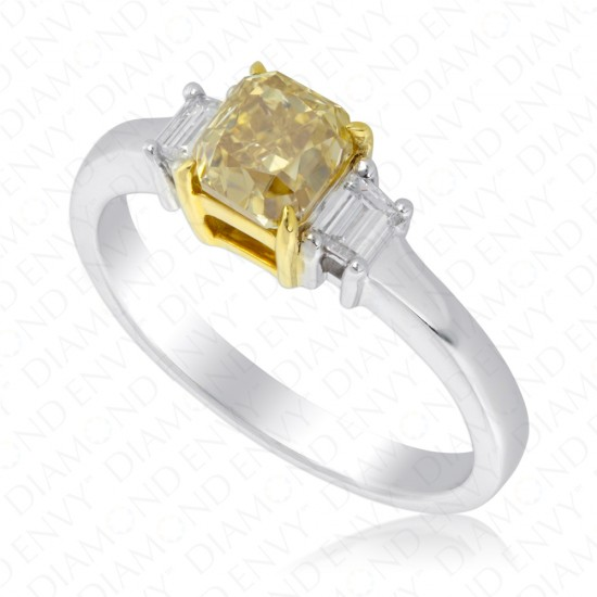 1.39 Carat Fancy Brownish Yellow Diamond Ring in 18K Two-Tone Gold