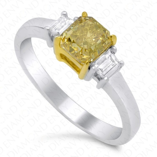 0.99 Carat Fancy Intense Yellow Diamond Ring in 18K Two-Tone Gold