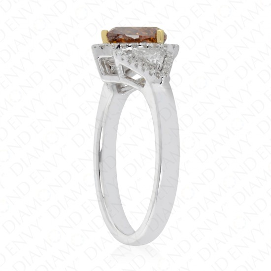 1.48 Carat Fancy Deep Brown-Orange Diamond Ring in 18K Two-Tone Gold