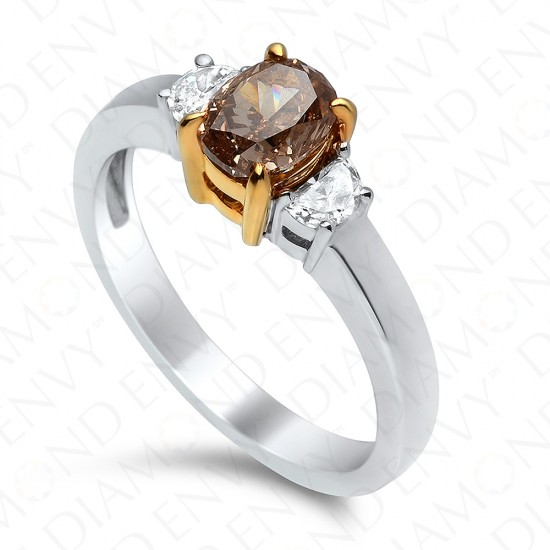 1.19 Carat Oval Fancy Yellowish Brown Diamond Ring in 18K Two-Tone Gold