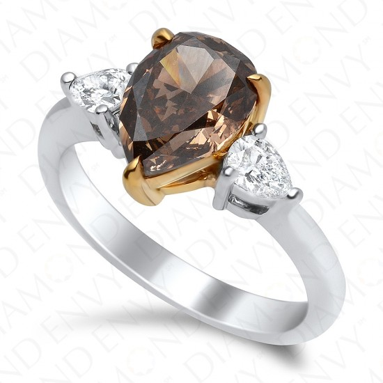 2.60 Carat Fancy Dark Brown Diamond Ring in 18K Two-Tone Gold