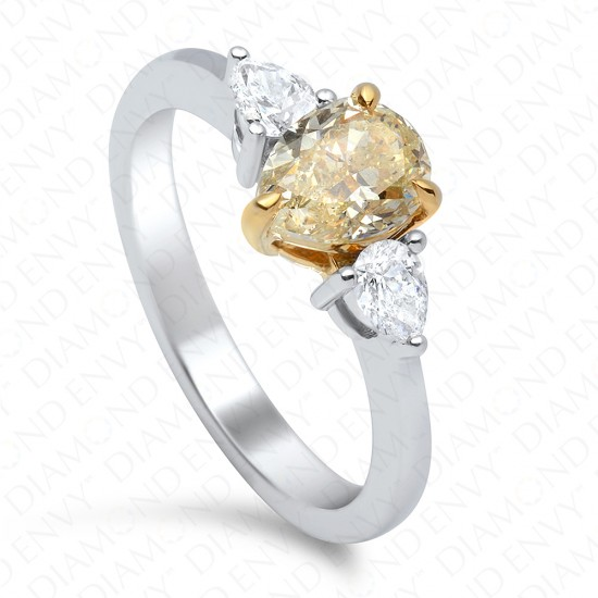 1.08 Carat Fancy Light Yellow SI1 Pear Shape Diamond Ring in 18K Two-Tone Gold