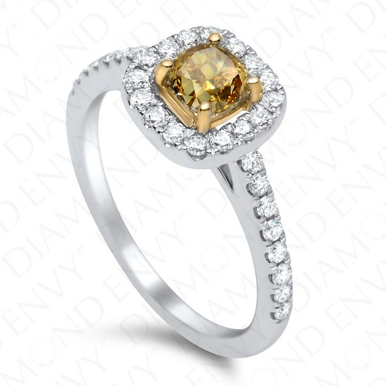 1.10 Carat Fancy Deep Brownish Yellow Diamond Ring in 18K White Gold