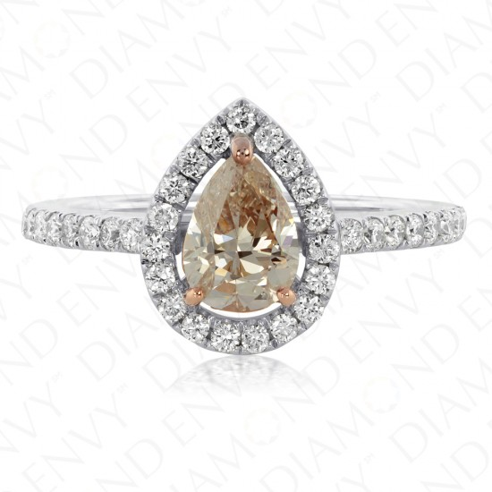 1.50 Carat Fancy Light Pinkish Brown Pear Shape Diamond Ring in 18K White Gold