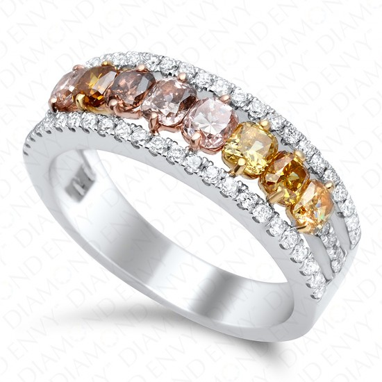 1.20 Carat Fancy Multi-Colored Diamond Ring in 18K Two-Tone Gold