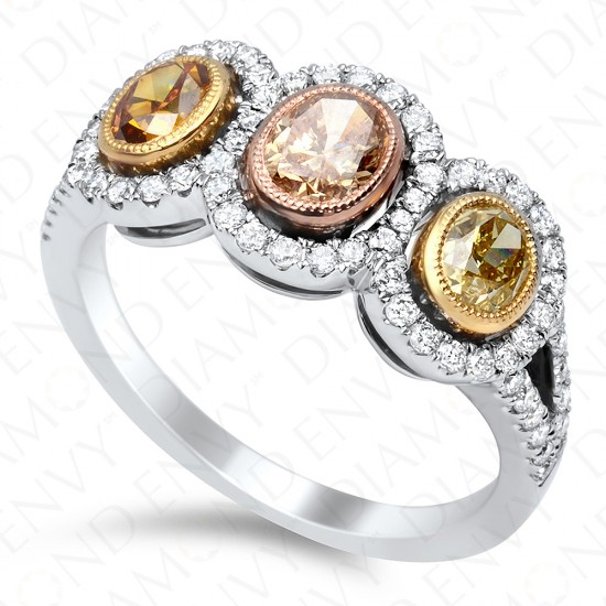 1.60 Carat Fancy Colored Diamond Ring in 18K Two-Tone Gold