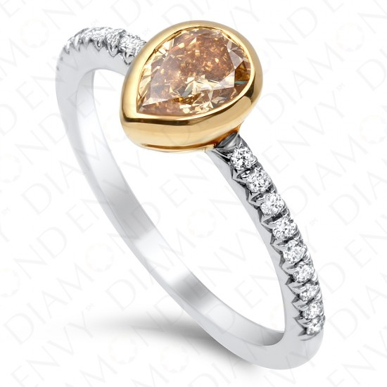 0.85 Carat Pear Shape Fancy Brown Yellow Diamond Ring in 18K Two-Tone Gold