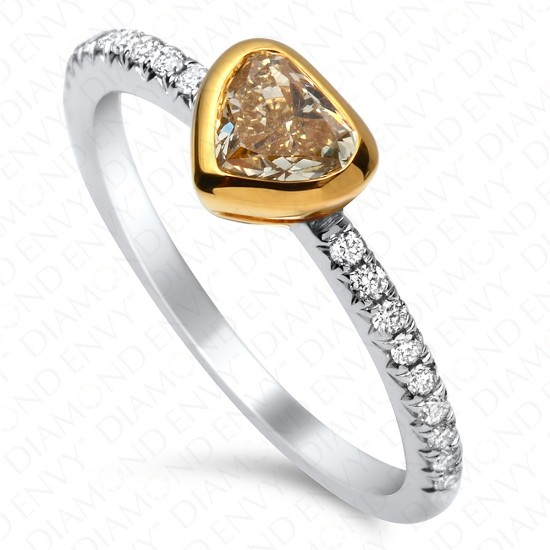 0.69 Carat Fancy Intense Yellow Heart Shape Diamond in 18K Two-Tone Gold