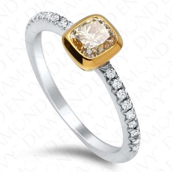 0.89 Carat Fancy Yellow Diamond Ring in 18K Two-Tone Gold
