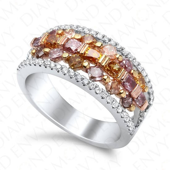 1.66 Carat Natural Fancy Multi-Colored Diamond Ring in 18K White Gold