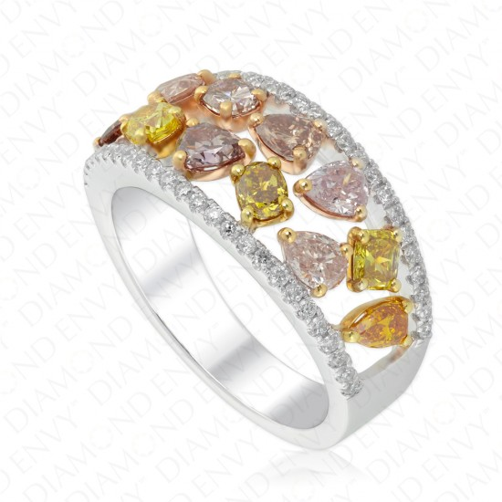 1.95 Carat Colored Diamond Ring in 18K Three-Tone Gold
