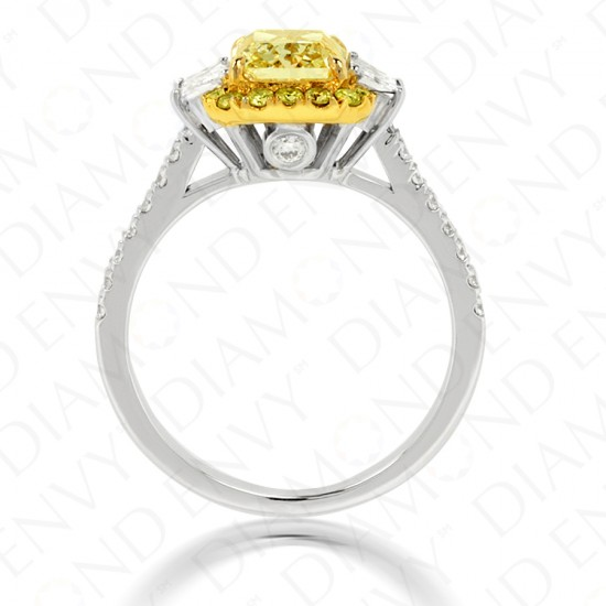 2.34 Carat Fancy Yellow Diamond Ring in 18K Two-Tone Gold