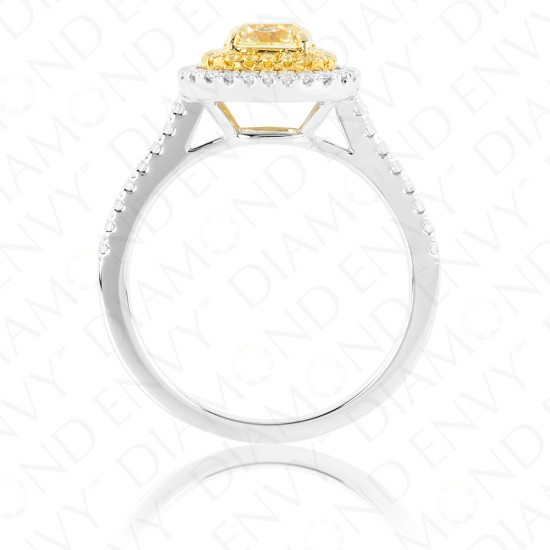 1.38 Carat Yellow Diamond Ring in 18K Two-Tone Gold