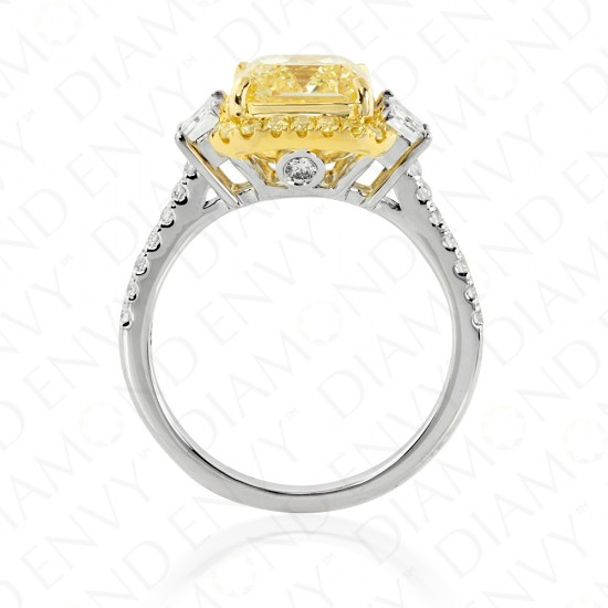 3.88 Carat Fancy Yellow Diamond Ring in 18K Two-Tone Gold