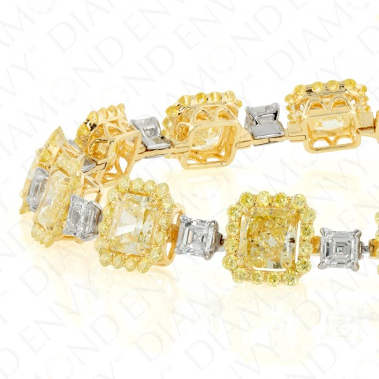 15.44 Carat Fancy Yellow Diamond Bracelet in 18K Two-Tone Gold